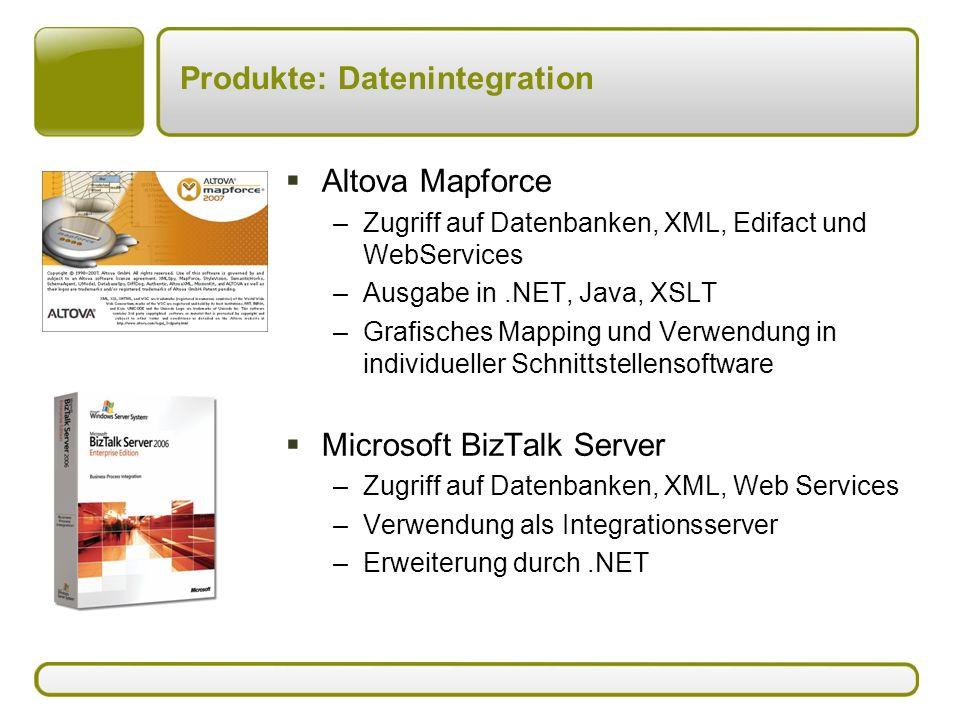 Produkte: Datenintegration  Altova Mapforce –Zugriff auf Datenbanken, XML, Edifact und WebServices –Ausgabe in.NET, Java, XSLT –Grafisches Mapping und Verwendung in individueller Schnittstellensoftware  Microsoft BizTalk Server –Zugriff auf Datenbanken, XML, Web Services –Verwendung als Integrationsserver –Erweiterung durch.NET