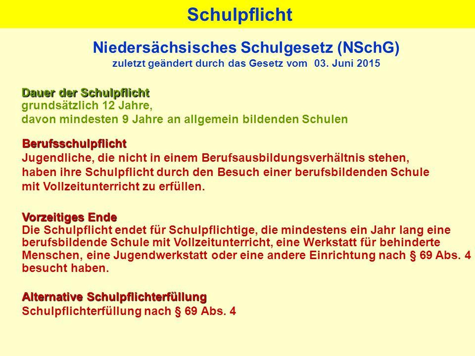 Niedersächsisches Schulgesetz (NSchG) zuletzt geändert durch das Gesetz vom 03. Juni 2015 Dauer der Schulpflicht grundsätzlich 12 Jahre, davon mindest