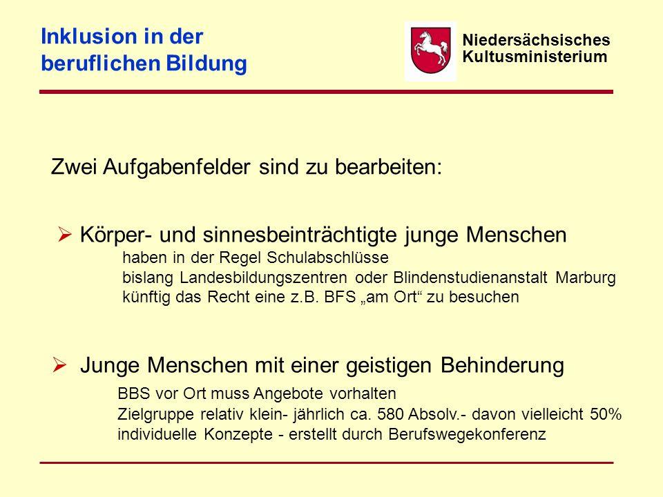 Niedersächsisches Kultusministerium Zwei Aufgabenfelder sind zu bearbeiten: Inklusion in der beruflichen Bildung  Körper- und sinnesbeinträchtigte ju