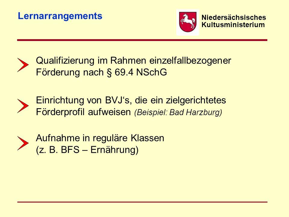 Niedersächsisches Kultusministerium Lernarrangements Qualifizierung im Rahmen einzelfallbezogener Förderung nach § 69.4 NSchG Einrichtung von BVJ's, d