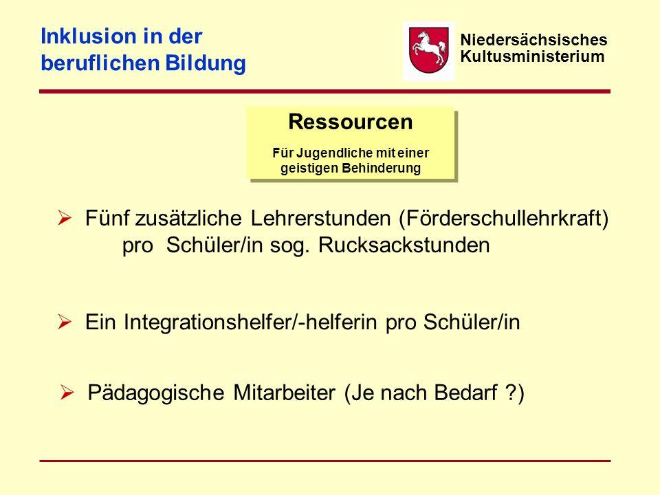 Niedersächsisches Kultusministerium Ressourcen Für Jugendliche mit einer geistigen Behinderung  Fünf zusätzliche Lehrerstunden (Förderschullehrkraft)