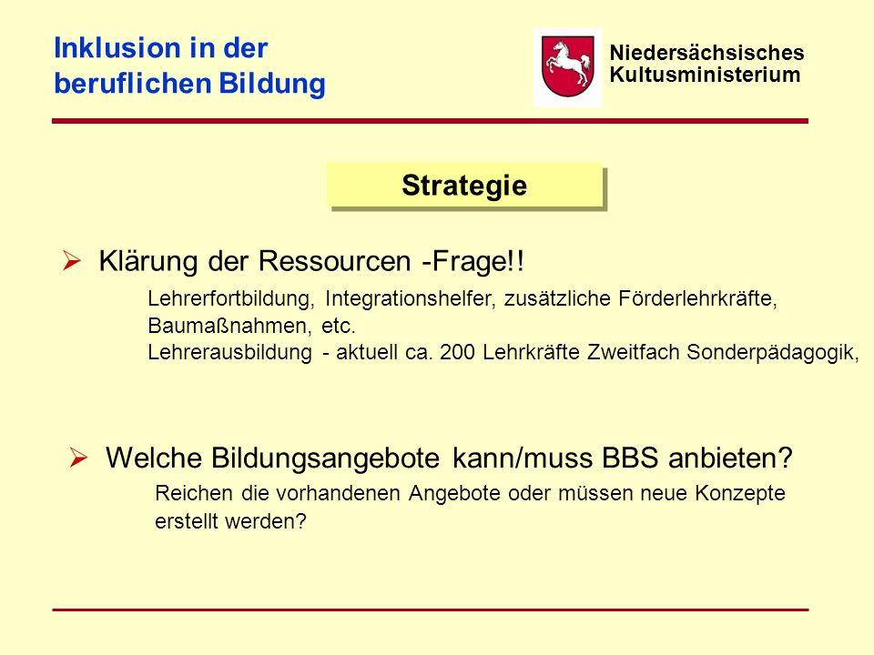 Niedersächsisches Kultusministerium Strategie  Klärung der Ressourcen -Frage!! Lehrerfortbildung, Integrationshelfer, zusätzliche Förderlehrkräfte, B