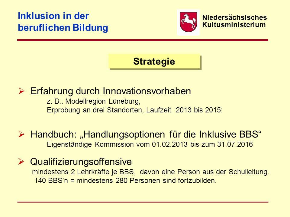 Niedersächsisches Kultusministerium Strategie  Erfahrung durch Innovationsvorhaben z. B.: Modellregion Lüneburg, Erprobung an drei Standorten, Laufze
