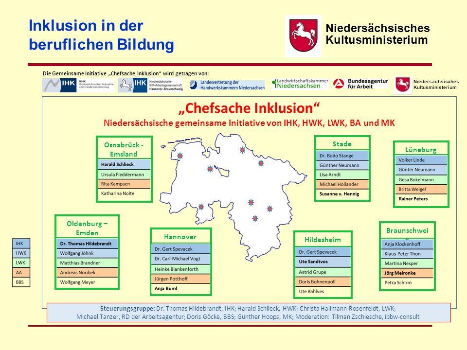 Niedersächsisches Kultusministerium Inklusion in der beruflichen Bildung Steuerungsgruppe: Dr. Thomas Hildebrandt, IHK; Harald Schlieck, HWK; Christa