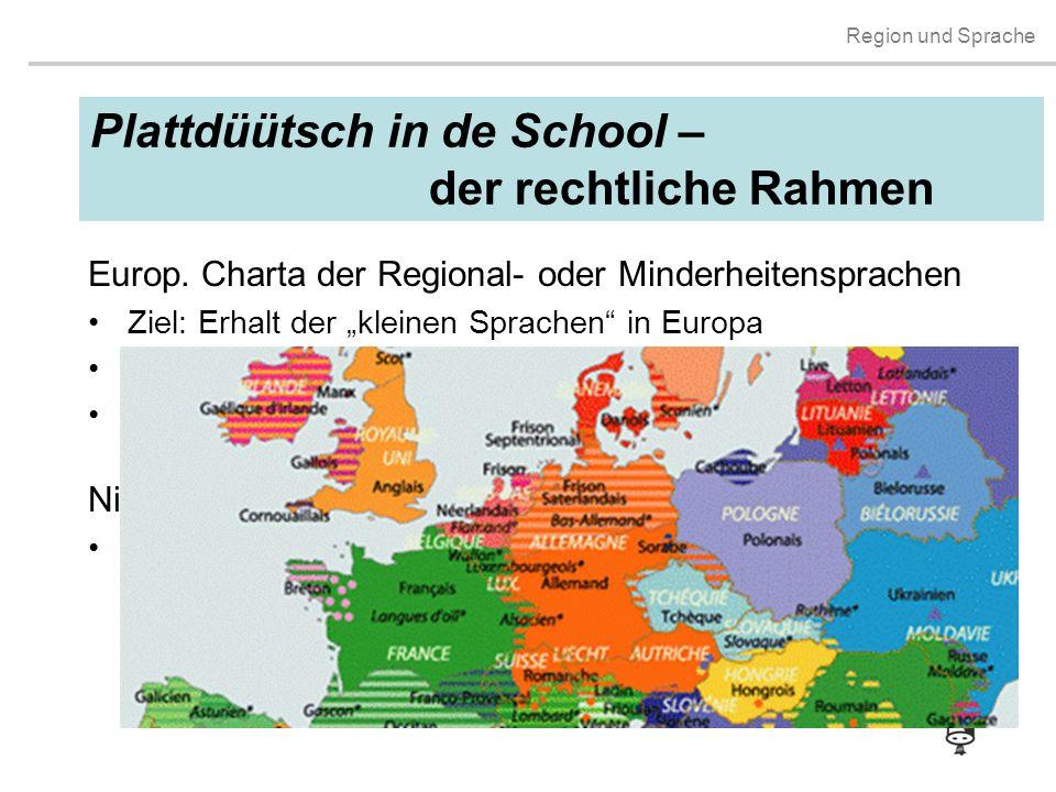 """Region und Sprache Plattdüütsch in de School – der rechtliche Rahmen Europ. Charta der Regional- oder Minderheitensprachen Ziel: Erhalt der """"kleinen S"""