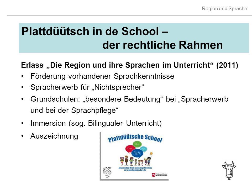 """Region und Sprache Plattdüütsch in de School – der rechtliche Rahmen Erlass """"Die Region und ihre Sprachen im Unterricht"""" (2011) Förderung vorhandener"""