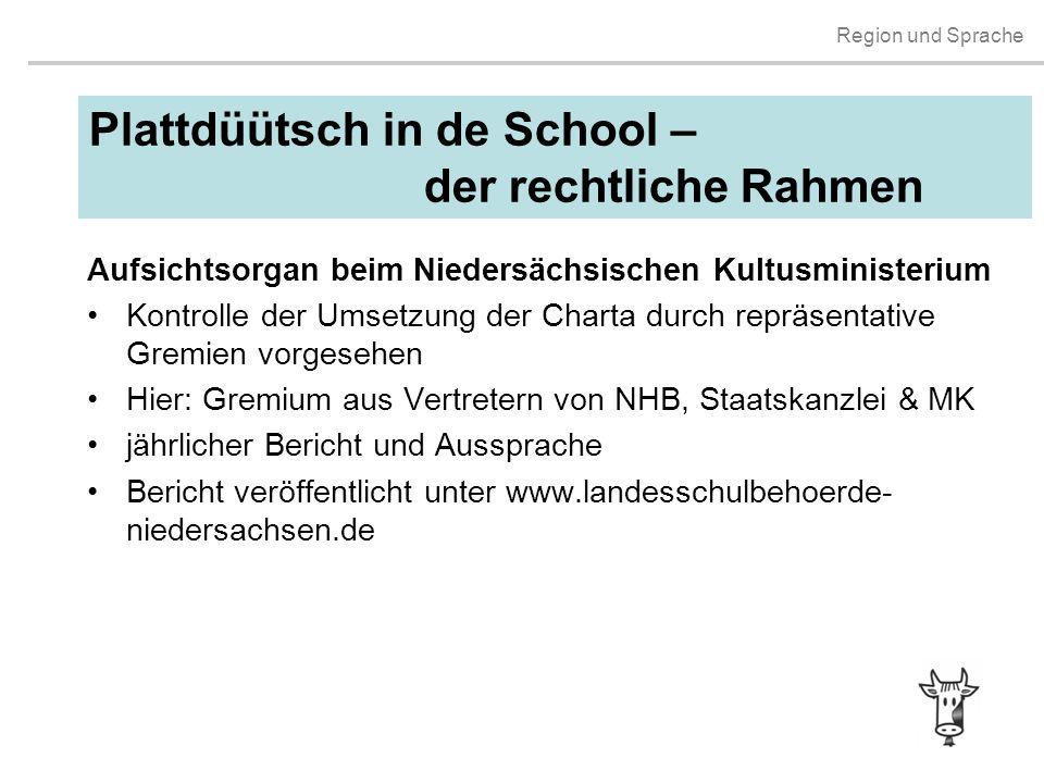 Region und Sprache Plattdüütsch in de School – der rechtliche Rahmen Aufsichtsorgan beim Niedersächsischen Kultusministerium Kontrolle der Umsetzung d