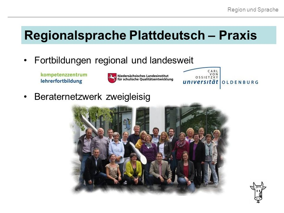 Region und Sprache Regionalsprache Plattdeutsch – Praxis Fortbildungen regional und landesweit Beraternetzwerk zweigleisig