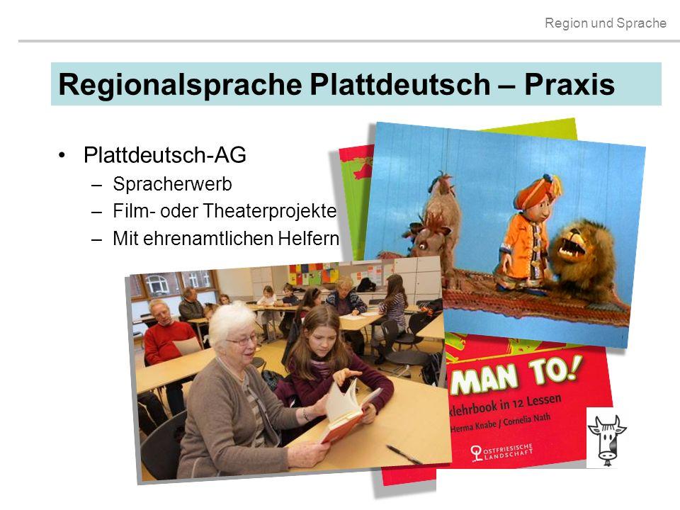 Region und Sprache Plattdeutsch-AG –Spracherwerb –Film- oder Theaterprojekte –Mit ehrenamtlichen Helfern Regionalsprache Plattdeutsch – Praxis