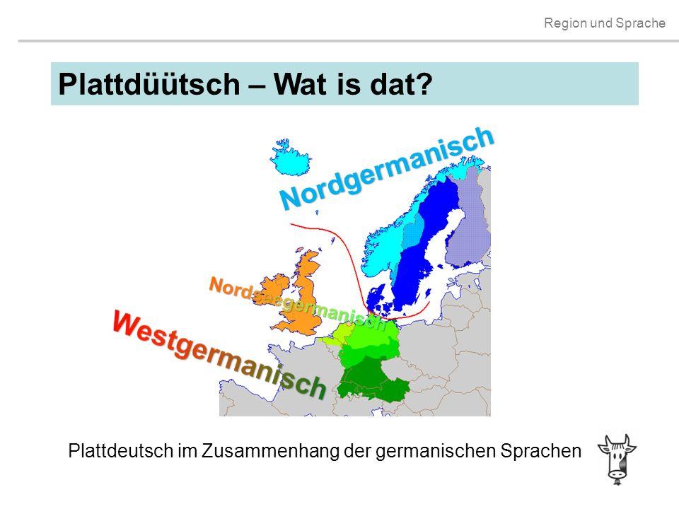 Region und Sprache Plattdüütsch – Wat is dat? Plattdeutsch im Zusammenhang der germanischen Sprachen Nordgermanisch