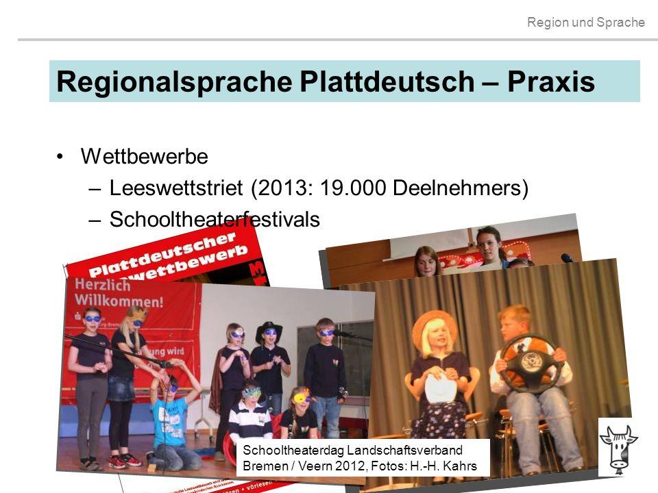 Region und Sprache Lannes-Leeswettstriet Lümborg 2013 Wettbewerbe –Leeswettstriet (2013: 19.000 Deelnehmers) –Schooltheaterfestivals Regionalsprache P