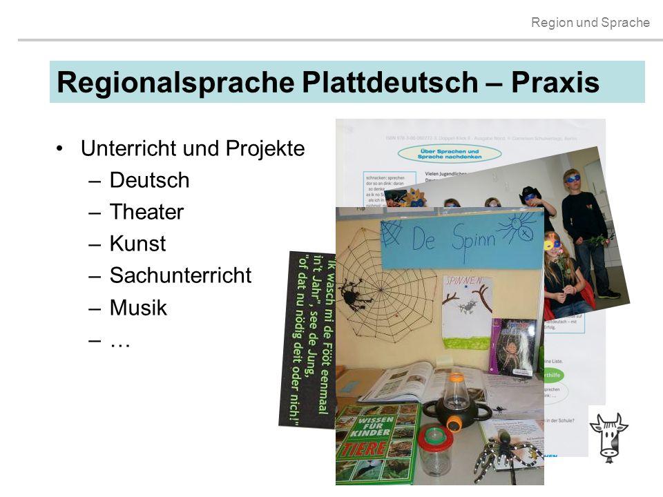 Region und Sprache Unterricht und Projekte –Deutsch –Theater –Kunst –Sachunterricht –Musik –…–… Regionalsprache Plattdeutsch – Praxis