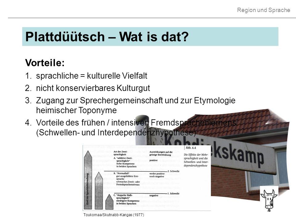 Region und Sprache Plattdüütsch – Wat is dat? Vorteile: 1.sprachliche = kulturelle Vielfalt 2.nicht konservierbares Kulturgut 3.Zugang zur Sprechergem