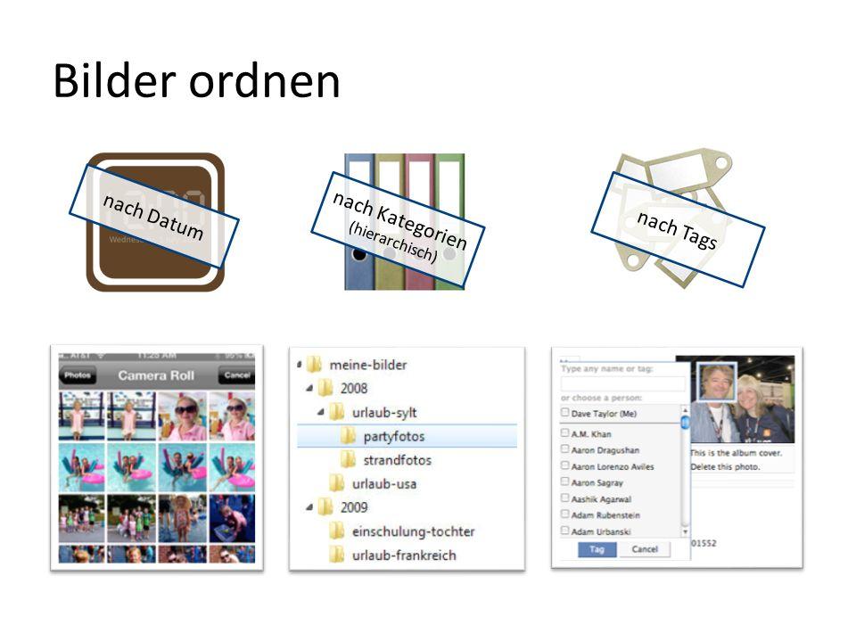 Bilder ordnen nach Datum nach Kategorien (hierarchisch) nach Tags