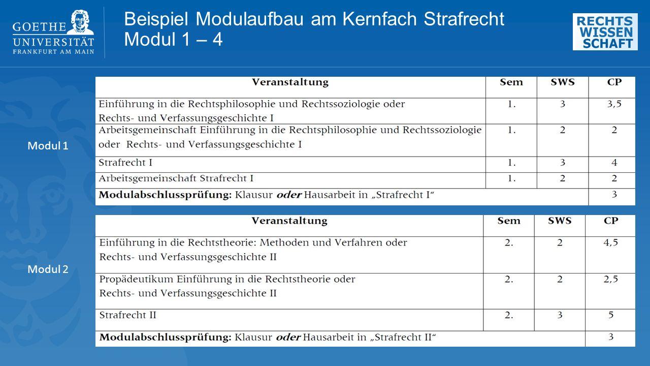Beispiel Modulaufbau am Kernfach Strafrecht Modul 1 – 4 Modul 1 Modul 2