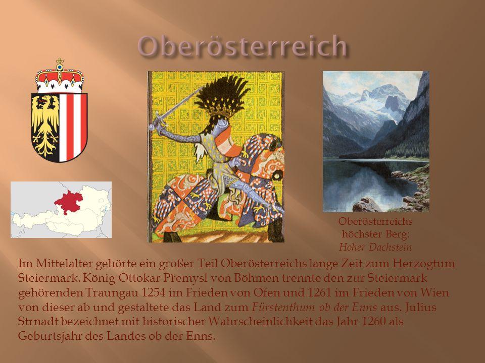 Im Mittelalter gehörte ein großer Teil Oberösterreichs lange Zeit zum Herzogtum Steiermark. König Ottokar Přemysl von Böhmen trennte den zur Steiermar