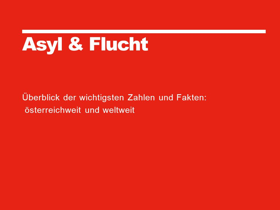 MIGRATION & INTEGRATION Ursula Sagmeister, Bahri Trojer 29. September 2015 13 SEITE Asyl & Flucht Überblick der wichtigsten Zahlen und Fakten: österre