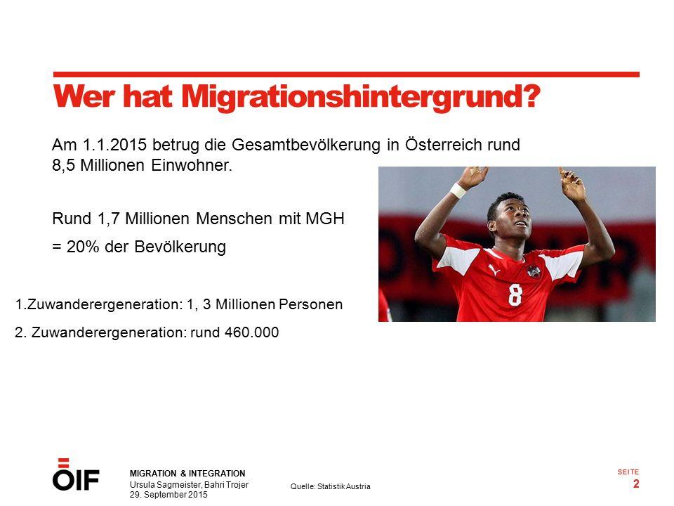 MIGRATION & INTEGRATION Ursula Sagmeister, Bahri Trojer 29. September 2015 2 SEITE Wer hat Migrationshintergrund? Rund 1,7 Millionen Menschen mit MGH