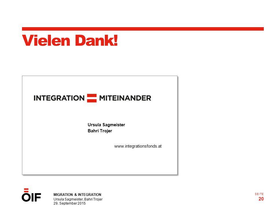 MIGRATION & INTEGRATION Ursula Sagmeister, Bahri Trojer 29. September 2015 20 SEITE Vielen Dank! Ursula Sagmeister Bahri Trojer www.integrationsfonds.