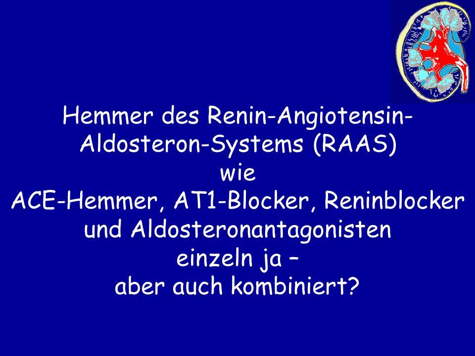 Hemmer des Renin-Angiotensin- Aldosteron-Systems (RAAS) wie ACE-Hemmer, AT1-Blocker, Reninblocker und Aldosteronantagonisten einzeln ja – aber auch ko