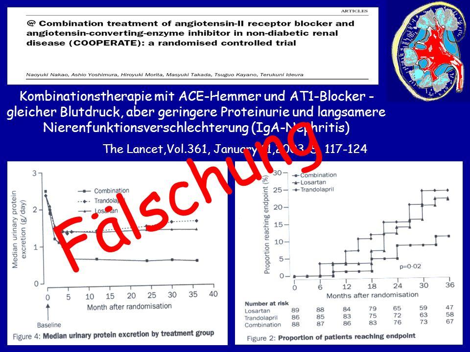 Kombinationstherapie mit ACE-Hemmer und AT1-Blocker - gleicher Blutdruck, aber geringere Proteinurie und langsamere Nierenfunktionsverschlechterung (I