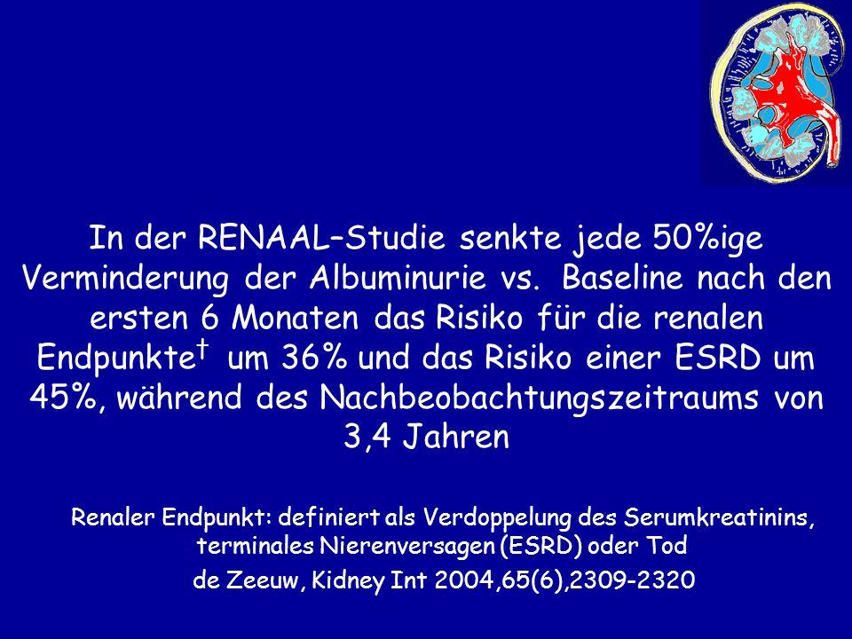 Renaler Endpunkt: definiert als Verdoppelung des Serumkreatinins, terminales Nierenversagen (ESRD) oder Tod de Zeeuw, Kidney Int 2004,65(6),2309-2320