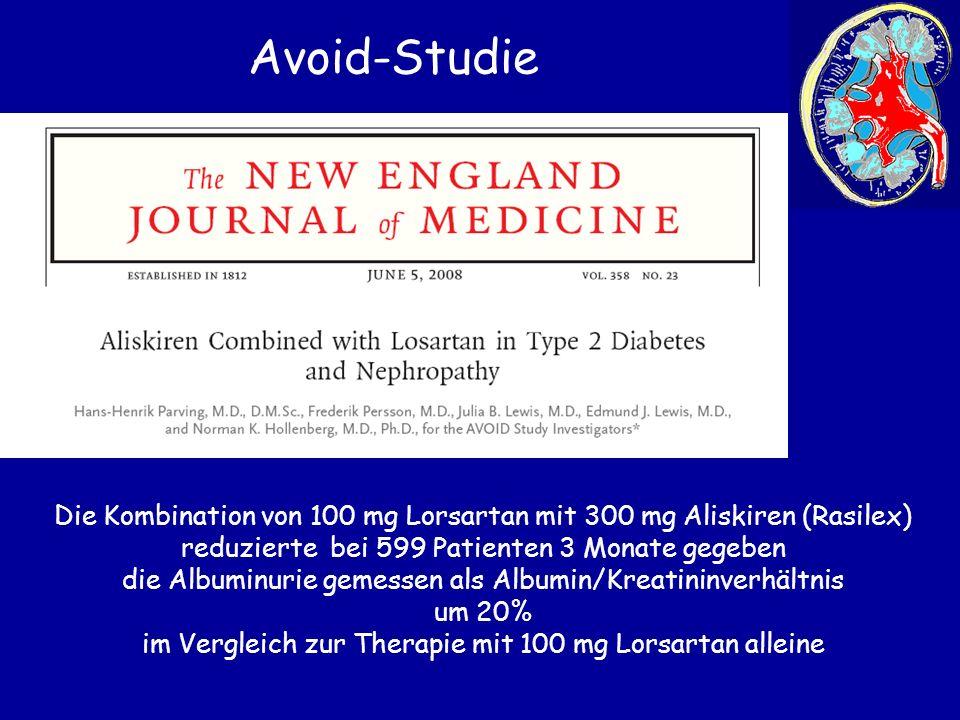 Die Kombination von 100 mg Lorsartan mit 300 mg Aliskiren (Rasilex) reduzierte bei 599 Patienten 3 Monate gegeben die Albuminurie gemessen als Albumin
