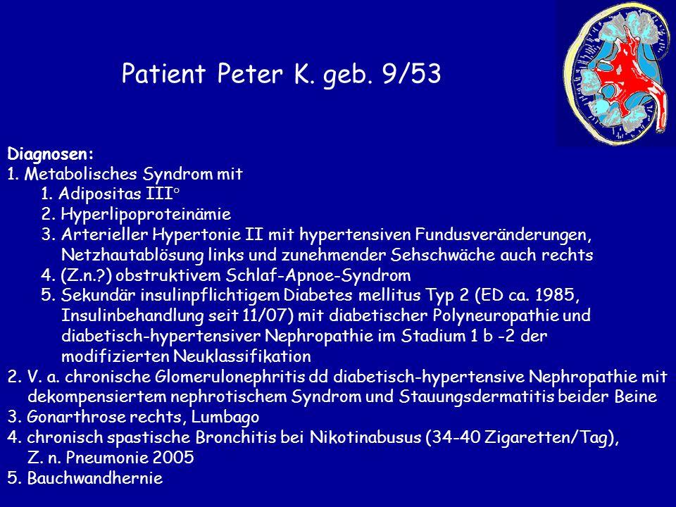 Patient Peter K. geb. 9/53 Diagnosen: 1. Metabolisches Syndrom mit 1. Adipositas III° 2. Hyperlipoproteinämie 3. Arterieller Hypertonie II mit hyperte