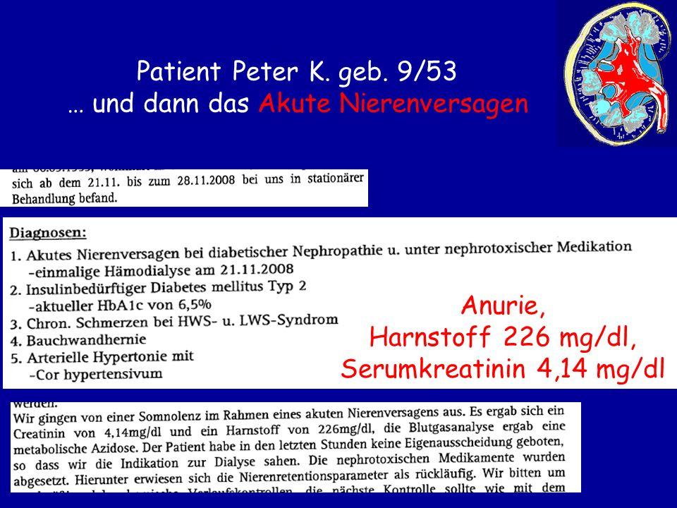 Patient Peter K. geb. 9/53 … und dann das Akute Nierenversagen Anurie, Harnstoff 226 mg/dl, Serumkreatinin 4,14 mg/dl
