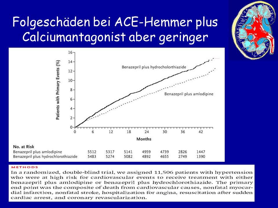 Folgeschäden bei ACE-Hemmer plus Calciumantagonist aber geringer