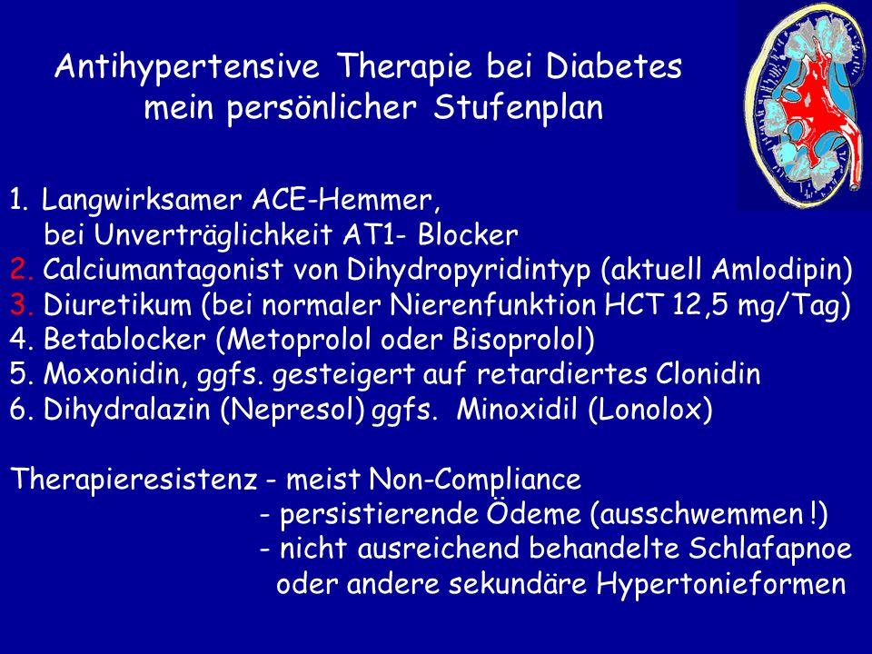 Antihypertensive Therapie bei Diabetes mein persönlicher Stufenplan 1.Langwirksamer ACE-Hemmer, bei Unverträglichkeit AT1- Blocker 2. Calciumantagonis