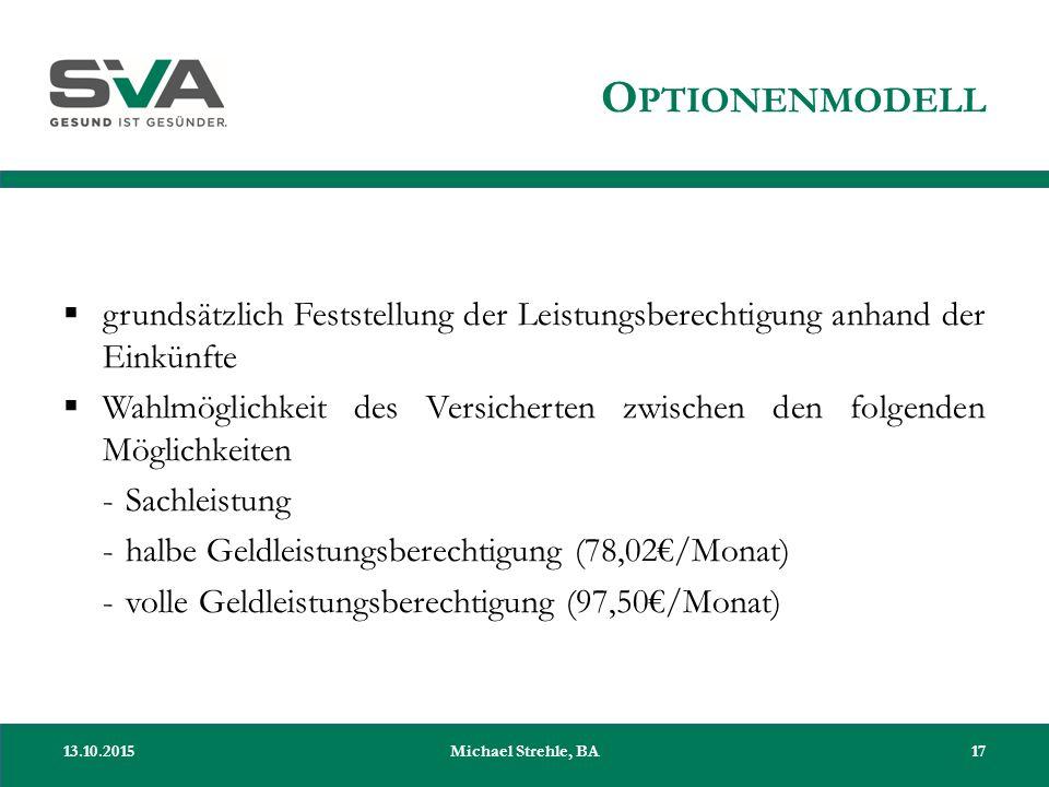 O PTIONENMODELL  grundsätzlich Feststellung der Leistungsberechtigung anhand der Einkünfte  Wahlmöglichkeit des Versicherten zwischen den folgenden