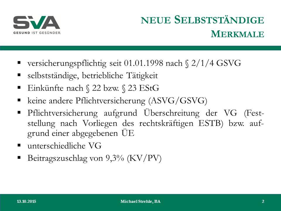 NEUE S ELBSTSTÄNDIGE M ERKMALE  versicherungspflichtig seit 01.01.1998 nach § 2/1/4 GSVG  selbstständige, betriebliche Tätigkeit  Einkünfte nach §