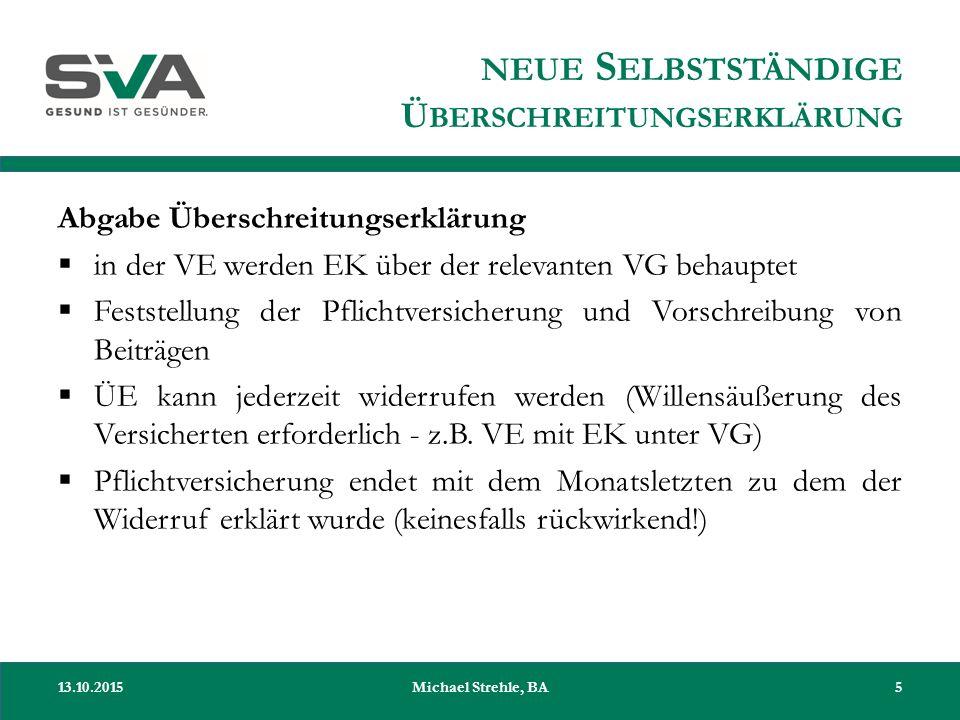 NEUE S ELBSTSTÄNDIGE Ü BERSCHREITUNGSERKLÄRUNG Abgabe Überschreitungserklärung  in der VE werden EK über der relevanten VG behauptet  Feststellung d