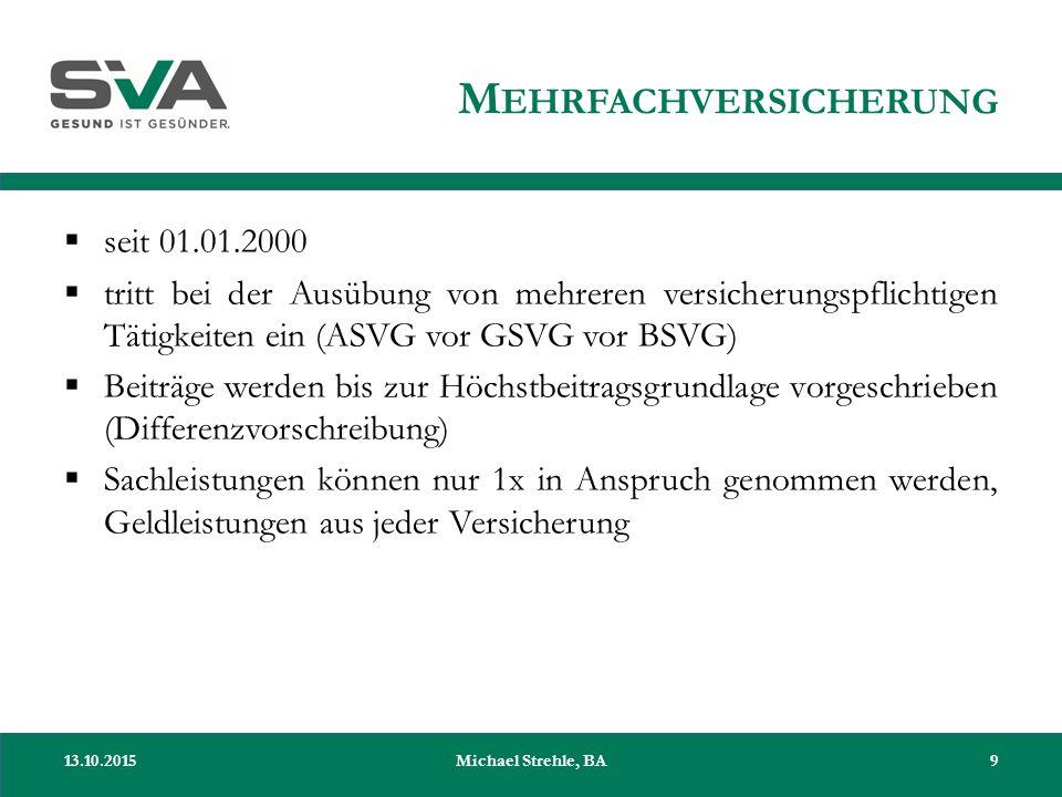 M EHRFACHVERSICHERUNG  seit 01.01.2000  tritt bei der Ausübung von mehreren versicherungspflichtigen Tätigkeiten ein (ASVG vor GSVG vor BSVG)  Beit