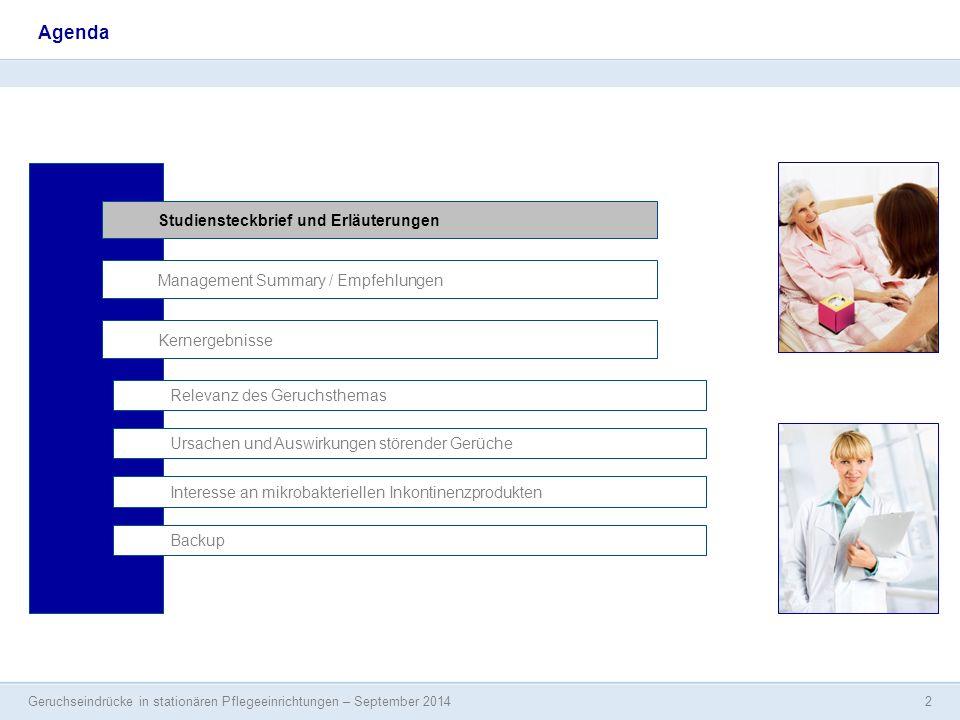 Geruchseindrücke in stationären Pflegeeinrichtungen – September 2014 2 Agenda Studiensteckbrief und Erläuterungen Management Summary / Empfehlungen In