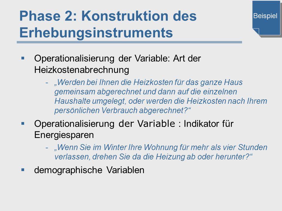"""Phase 2: Konstruktion des Erhebungsinstruments  Operationalisierung der Variable: Art der Heizkostenabrechnung -""""Werden bei Ihnen die Heizkosten für"""