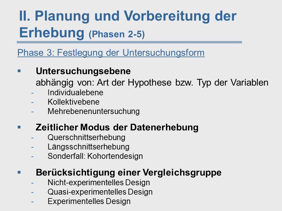 II. Planung und Vorbereitung der Erhebung (Phasen 2-5) Phase 3: Festlegung der Untersuchungsform  Untersuchungsebene abhängig von: Art der Hypothese