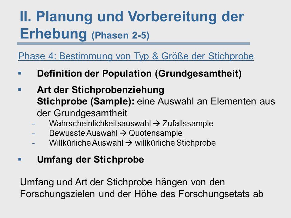 II. Planung und Vorbereitung der Erhebung (Phasen 2-5) Phase 4: Bestimmung von Typ & Größe der Stichprobe  Definition der Population (Grundgesamtheit