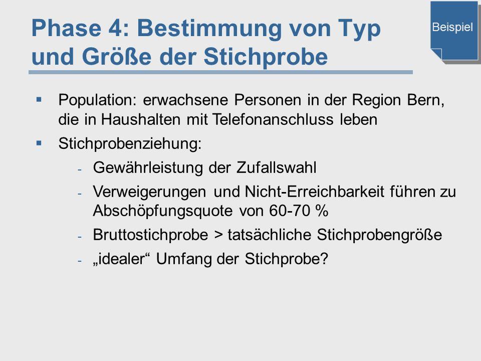 Phase 4: Bestimmung von Typ und Größe der Stichprobe  Population: erwachsene Personen in der Region Bern, die in Haushalten mit Telefonanschluss lebe