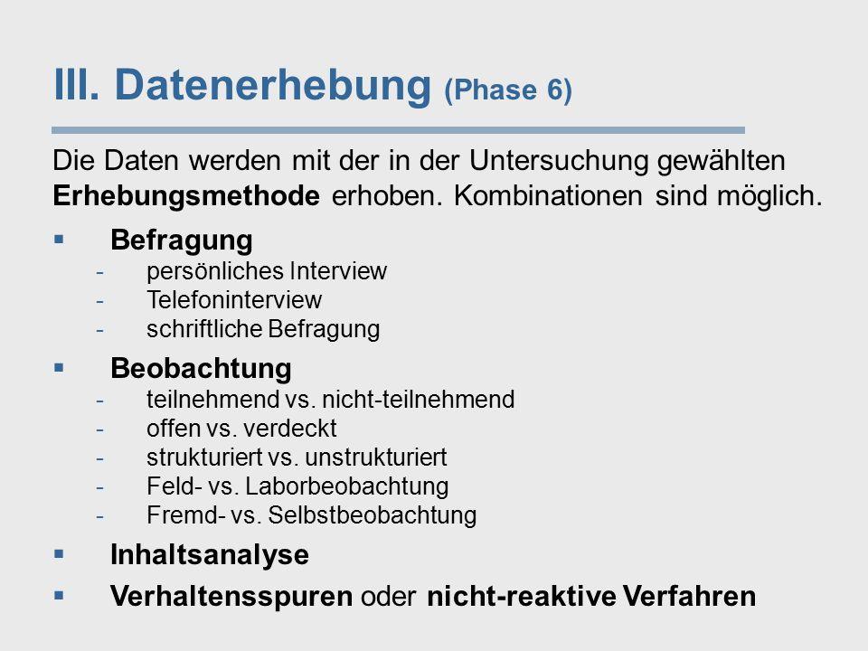 III. Datenerhebung (Phase 6)  Befragung -persönliches Interview -Telefoninterview -schriftliche Befragung  Beobachtung -teilnehmend vs. nicht-teilne