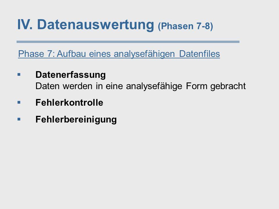 IV. Datenauswertung (Phasen 7-8) Phase 7: Aufbau eines analysefähigen Datenfiles  Datenerfassung Daten werden in eine analysefähige Form gebracht  F