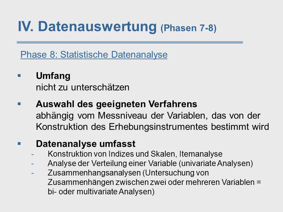 IV. Datenauswertung (Phasen 7-8) Phase 8: Statistische Datenanalyse  Umfang nicht zu unterschätzen  Auswahl des geeigneten Verfahrens abhängig vom M