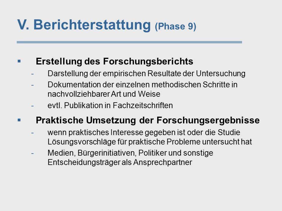  Erstellung des Forschungsberichts -Darstellung der empirischen Resultate der Untersuchung -Dokumentation der einzelnen methodischen Schritte in nach