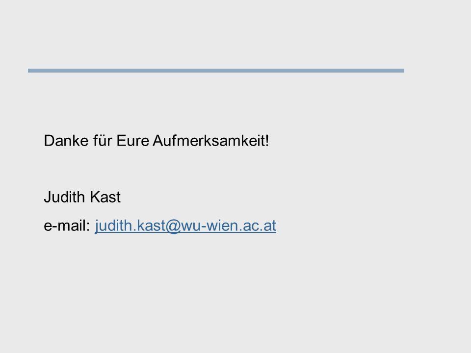 Danke für Eure Aufmerksamkeit! Judith Kast e-mail: judith.kast@wu-wien.ac.atjudith.kast@wu-wien.ac.at