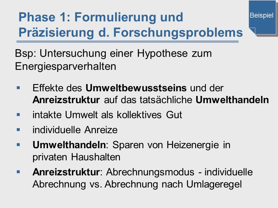 Phase 1: Formulierung und Präzisierung d. Forschungsproblems  Effekte des Umweltbewusstseins und der Anreizstruktur auf das tatsächliche Umwelthandel