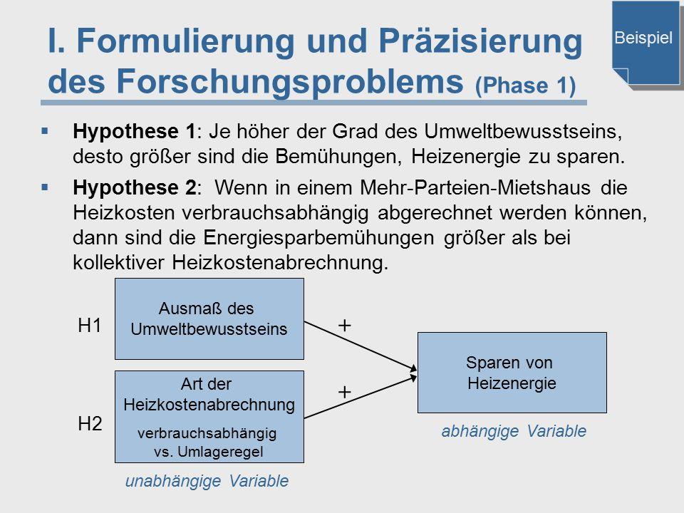 I. Formulierung und Präzisierung des Forschungsproblems (Phase 1)  Hypothese 1: Je höher der Grad des Umweltbewusstseins, desto größer sind die Bemüh