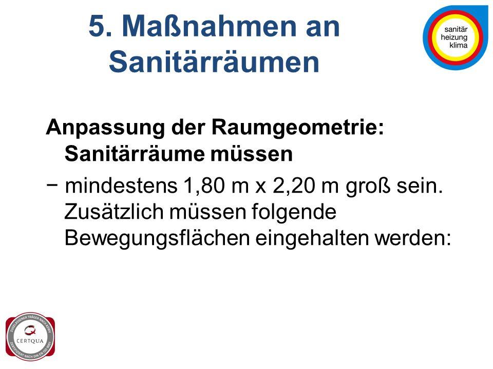 5. Maßnahmen an Sanitärräumen Anpassung der Raumgeometrie: Sanitärräume müssen − mindestens 1,80 m x 2,20 m groß sein. Zusätzlich müssen folgende Bewe
