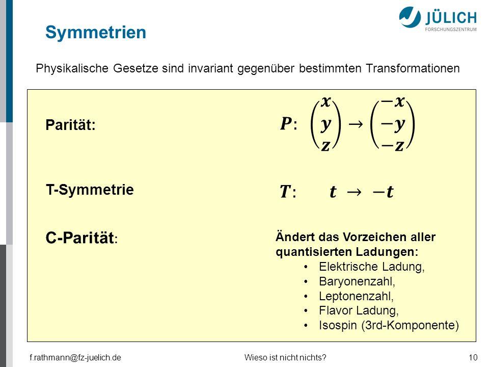 Symmetrien Parität: f.rathmann@fz-juelich.deWieso ist nicht nichts?10 C-Parität : Ändert das Vorzeichen aller quantisierten Ladungen: Elektrische Ladu