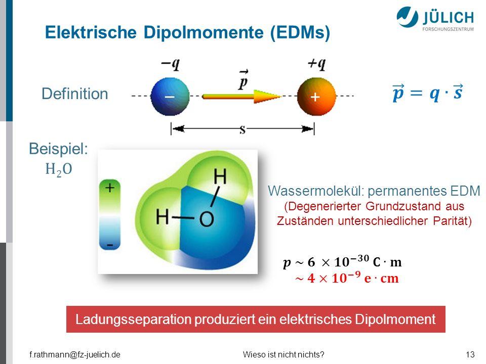 Ladungsseparation produziert ein elektrisches Dipolmoment Definition Wassermolekül: permanentes EDM (Degenerierter Grundzustand aus Zuständen untersch